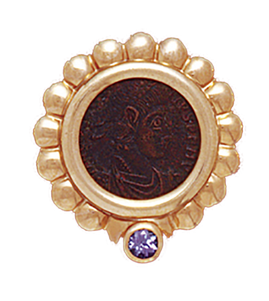 14K  Gold RIBBED TANZANITE BEZEL  Pendant  With Bronze Roman Coin