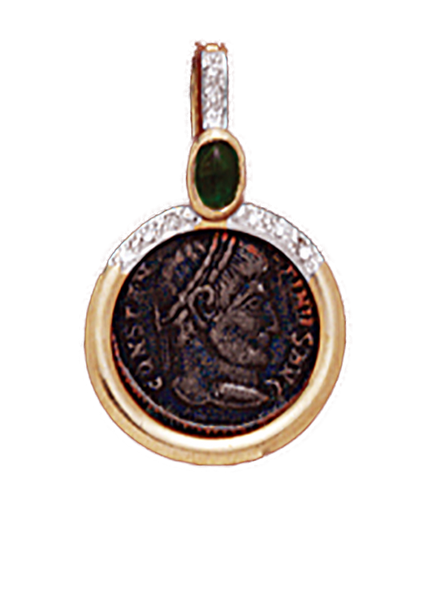 14K  Gold RIBBED RUBY PENDANT  With Bronze Roman Coin