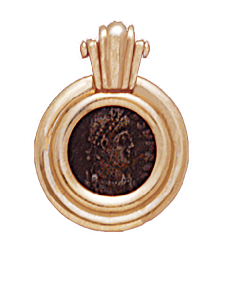 14K  Gold RUBY ACCENT SLIDE PENDANT  With Bronze Roman Coin