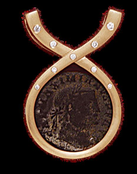 14K  Gold DIAMOND RIBBON SLIDE Pendant  With Bronze Roman Coin