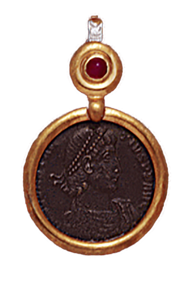 14K  Gold DIAMOND/RUBY  DROP SLIDE  Pendant  With Bronze Roman Coin