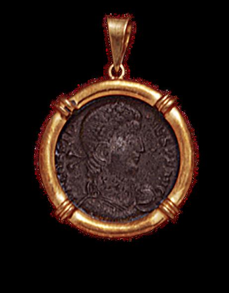 14K  Gold NAUTICAL  Pendant  With Bronze Roman Coin