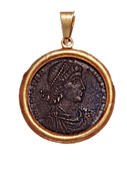 14K  Gold DOMED BEZEL  Pendant  With Bronze Roman Coin