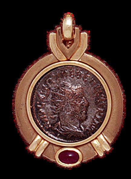 14K  Gold PLAIN RUBY SLIDE Pendant With  Roman Coin