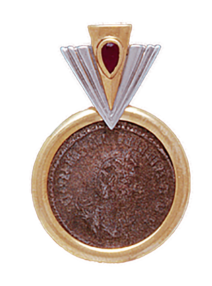 """14K  Gold RUBY """"V"""" SLIDE SILVER  Pendant With  Roman Coin"""