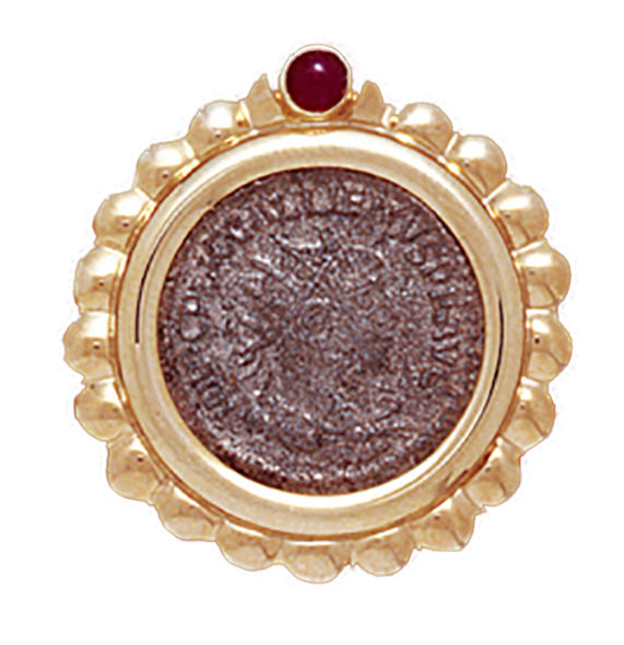 14K  Gold RIBBED RUBY BEZEL  Pendant With  Roman Coin