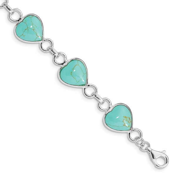 """7"""" Sterling Silver Rhodium-plated Heart-shaped Impregnated Turquoise Bracelet"""