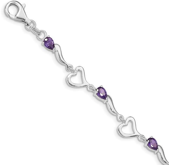 """7"""" Sterling Silver & Amethyst Polished Fancy Heart Bracelet"""