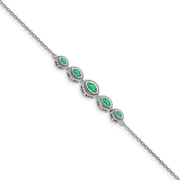 "7"" 14k White Gold Marquise Emerald Bracelet"
