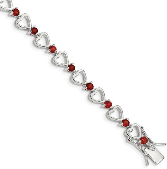 """7"""" Sterling Silver Garnet Heart Bracelet"""