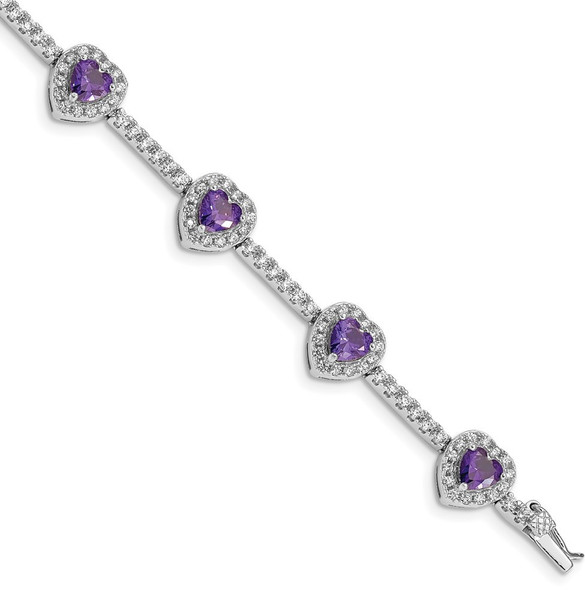 """7"""" Sterling Silver Rhodium-plated Amethyst and Clear CZ Heart Bracelet"""