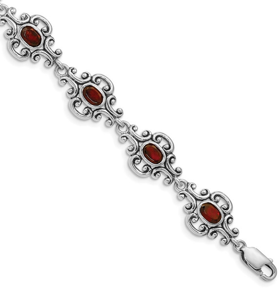 "7.25"" Sterling Silver Rhodium Plated Antiqued Garnet Bracelet"