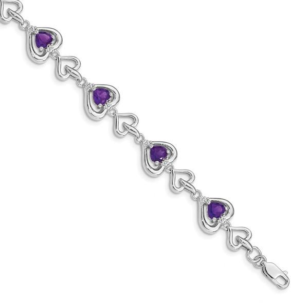 "7"" Sterling Silver Rhodium-plated Diamond & Heart Link Amethyst Bracelet"