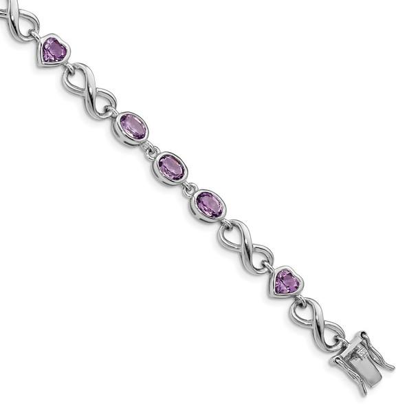 "7"" Sterling Silver Rhodium-plated Oval Heart Amethyst Bracelet"