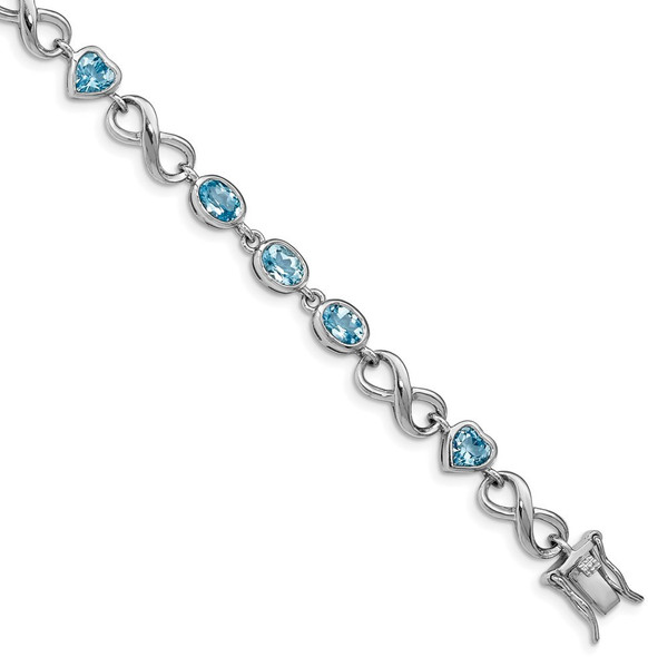 "7"" Sterling Silver Rhodium-plated Oval Heart Blue Topaz Bracelet"