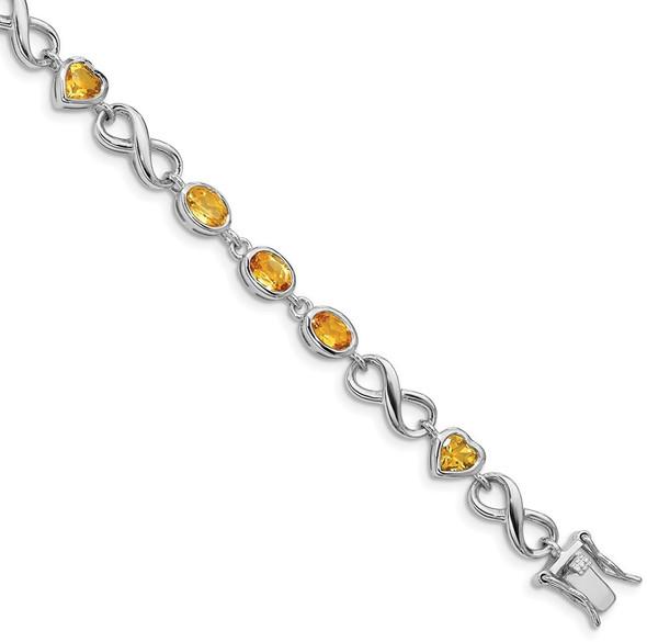 "7.75"" Sterling Silver Rhodium-plated Oval Heart Citrine Bracelet"