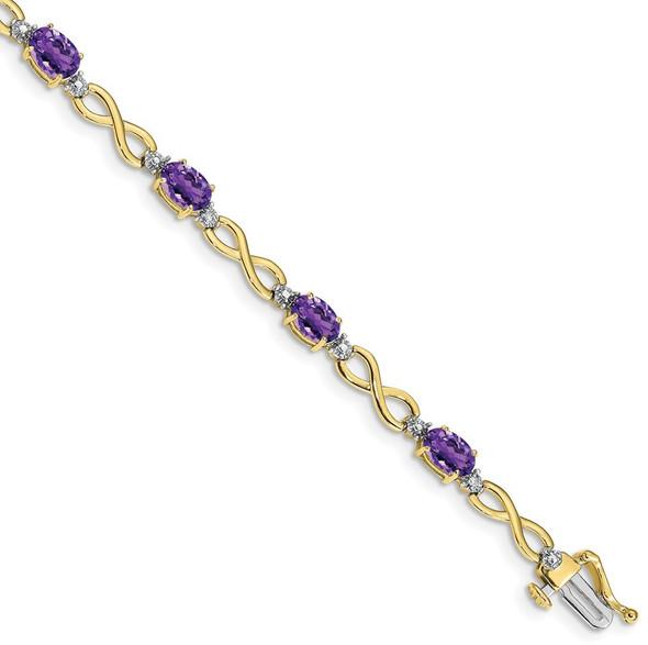 "7"" 10k Yellow Gold Amethyst and Diamond Infinity Bracelet"