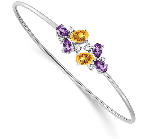 14k White Gold Amethyst, Citrine & Diamond Bangle Bracelet