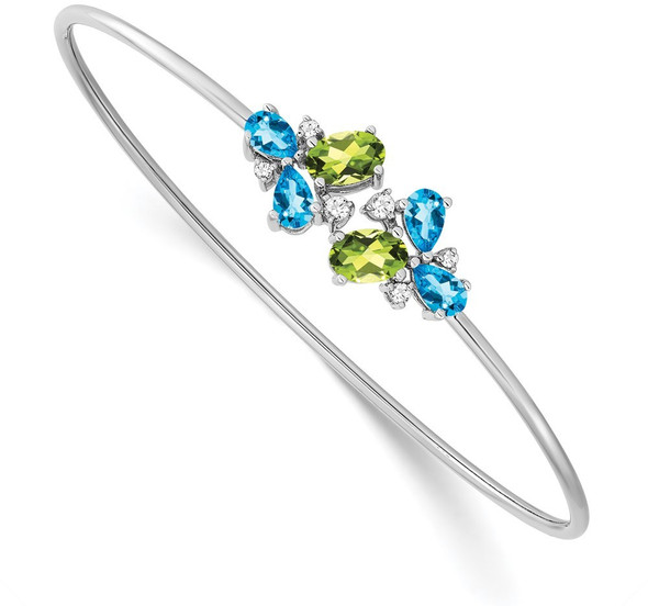 14k White Gold Blue Topaz, Peridot & Diamond Bangle Bracelet