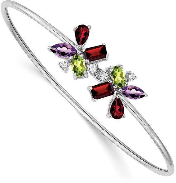14k White Gold Amethyst, Peridot, Garnet & Diamond Bangle Bracelet