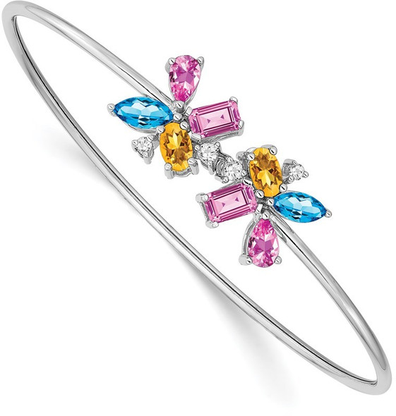 14k White Gold Blue Topaz, Citrine, Lab-Created Pink Sapphire & Diamond Bangle