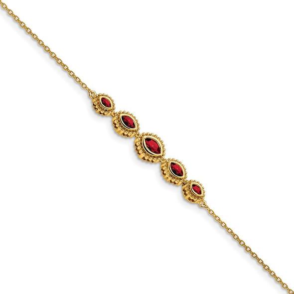 "7"" 14k Yellow Gold Marquise Garnet Bangle Bracelet"