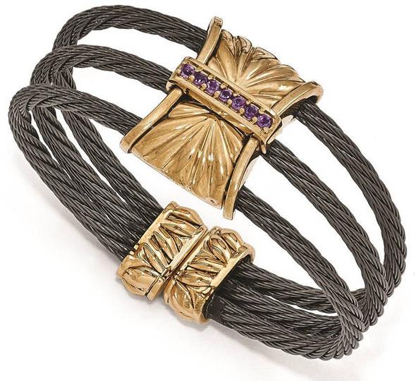 "6"" Edward Mirell Titanium & Bronze w/ Amethyst Cable Cuff Bracelet"