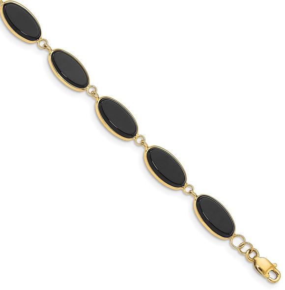 "7.25"" 14k Yellow Gold Black Onyx Bracelet"