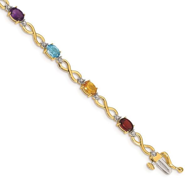 "7"" 14k Yellow Gold Multicolor Rainbow Gemstone and Diamond Infinity Bracelet"