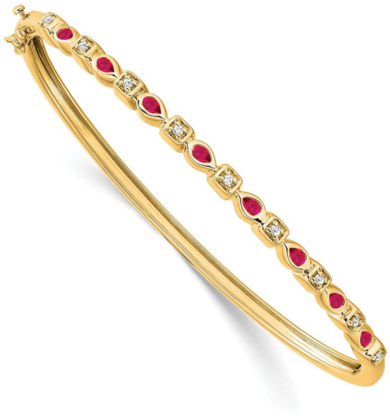 "7"" 14k Yellow Gold Ruby and Diamond Bangle Bracelet"