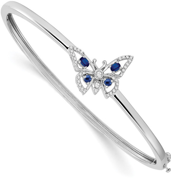 "7"" 14k White Gold Sapphire and Diamond Butterfly Bangle Bracelet"