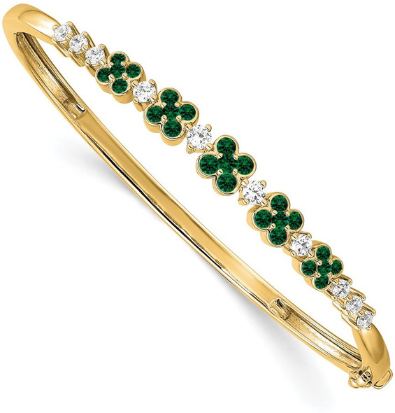 14k Gold Lab Grown Diamond SI1/SI2 GHI Lab-Created Emerald Bangle Bracelet