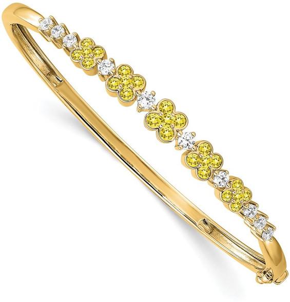 14k Yellow Gold Lab Grown Diamond SI1/SI2 GHI Lab-Created Yellow Sapphire Bangle