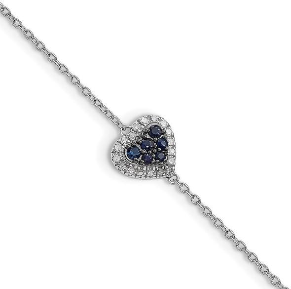 "7"" Sterling Silver Rhodium Diamond & Sapphire Heart Bracelet QDX1200"