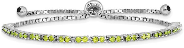 Rhodium-plate Sterling Silver Simulated August Lime Green CZ Adjustable Bracelet