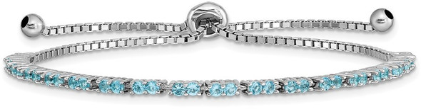 Sterling Silver Simulated December Light Blue CZ Adjustable Bracelet