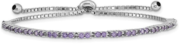 Rhodium-plated Sterling Silver Simulated February Purple CZ Adjustable Bracelet