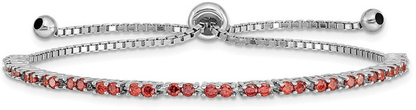 Rhodium-plated Sterling Silver Simulated January Red CZ Adjustable Bracelet