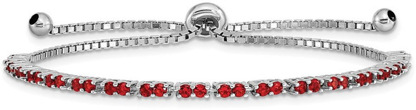 Rhodium-plated Sterling Silver Simulated July Red CZ Adjustable Bracelet