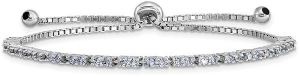 Rhodium-plated Sterling Silver Simulated June Lavender CZ Adjustable Bracelet