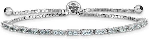 Rhodium-plated Sterling Silver Simulated March Light Blue CZ Adjustable Bracelet