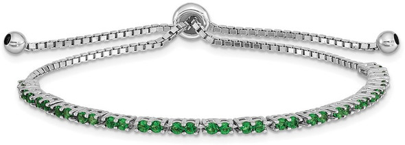 Rhodium-plated Sterling Silver Simulated May Green CZ Adjustable Bracelet