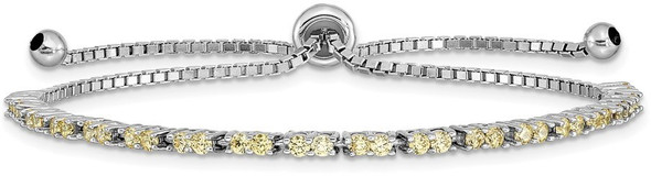 Rhodium-plated Sterling Silver Simulated November Yellow CZ Adjustable Bracelet