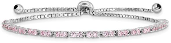 Rhodium-plated Sterling Silver Simulated October Pink CZ Adjustable Bracelet