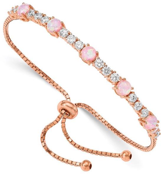 Sterling Silver Pink Lab-Created Opal and CZ Adjustable Bracelet