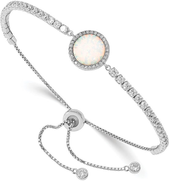 Rhodium-plate Sterling Silver Lab-Created Opal and CZ Adjustable Bracelet