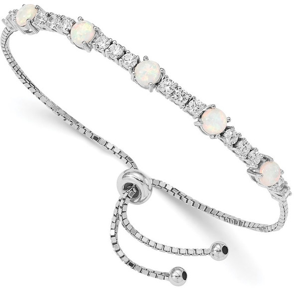 Rhodium-plated Sterling Silver Lab-Created Opal and CZ Adjustable Bracelet