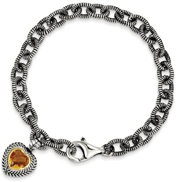 "7.5"" Sterling Silver & 14k Yellow Gold Citrine Heart Bracelet"