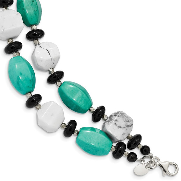 "7.5""+1"" 925 Silver Black Agate, White Howlite & Reconstituted Turquoise Bracelet"