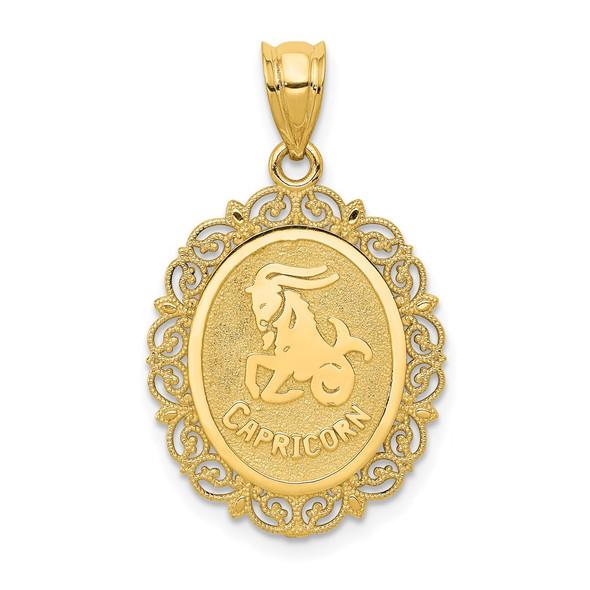 14k Yellow Gold Solid Satin Polished Capricorn Zodiac Oval Pendant